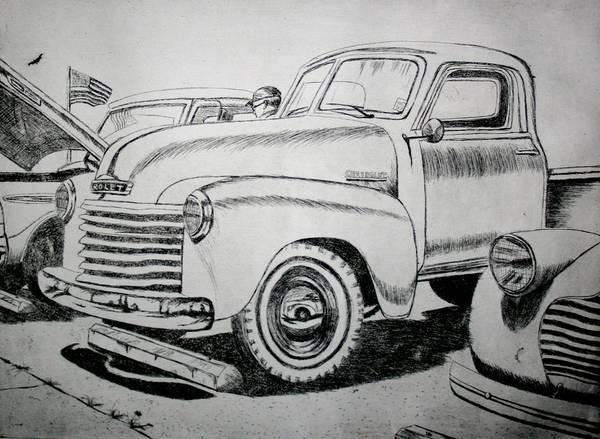 Old Chevy Truck Drawing - American Made by Stacy C Bottoms