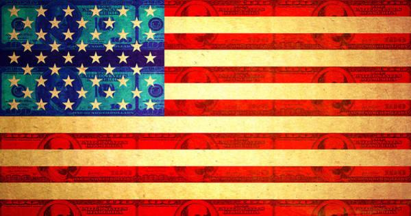 Capitalism Digital Art - American Money Flag by Steve Ball