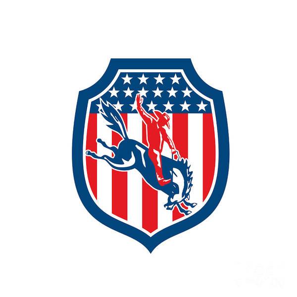 Bucking Bronco Digital Art - American Rodeo Cowboy Riding Bronco Shield Retro by Aloysius Patrimonio