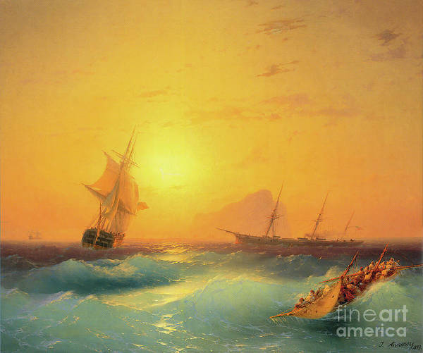 Wall Art - Painting - American Shipping Off The Rock Of Gibraltar by Viktor Birkus