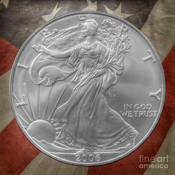 In God We Trust Photograph - American Silver Eagle Dollar by Randy Steele