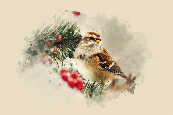 Mixed Media - American Tree Sparrow Watercolor Art by Christina Rollo