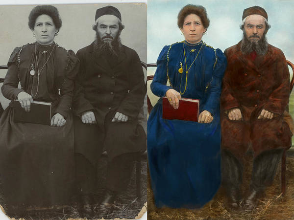 Colorization Photograph - Americana - The Yearly Family Portrait - Side By Side by Mike Savad