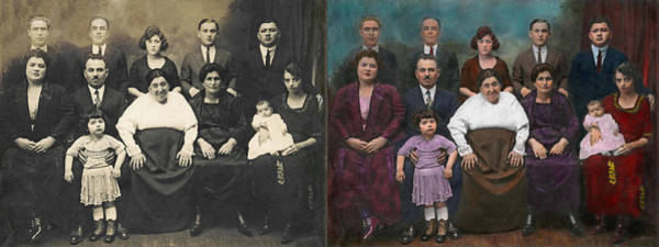 Colorization Photograph - Americana - This Is My Family 1925 - Side By Side by Mike Savad