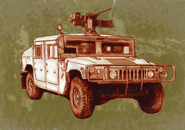 American Car Drawing - American's New Army Car - Hummer Stylised Art Sketch Poster by Kim Wang