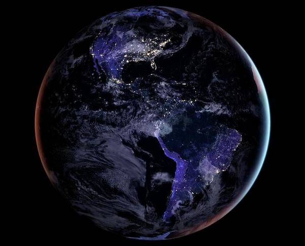 Earth Observation Wall Art - Photograph - Americas At Night by Nasa Earth Observatory/joshua Stevens/miguel Roman/gsfc/science Photo Library
