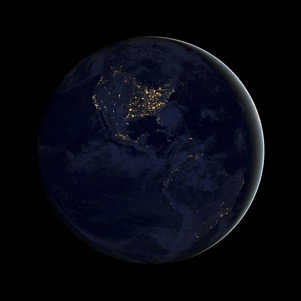 Suomi Photograph - Americas At Night, Satellite Image by Science Photo Library