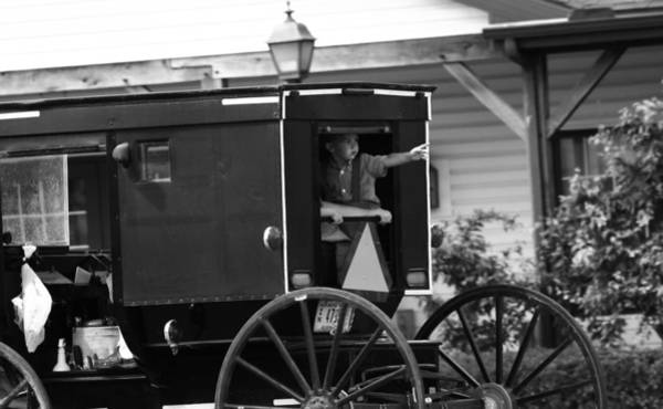 Berlin Ohio Photograph - Amish Boy Waving In Horse And Buggy by Dan Sproul