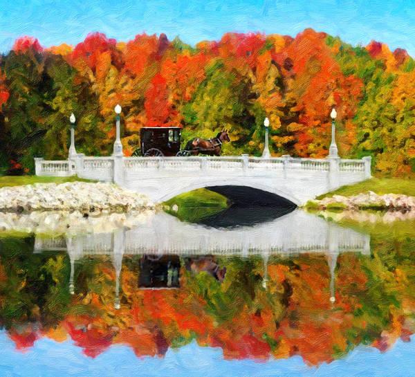 Digital Art - Amish Buggy On Buhl Bridge by Rick Wicker