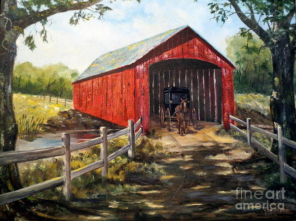 Covered Bridge Painting - Amish Country by Lee Piper