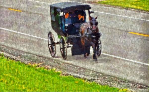 Simple Life Mixed Media - Amish Family In Horse And Buggy by Dan Sproul