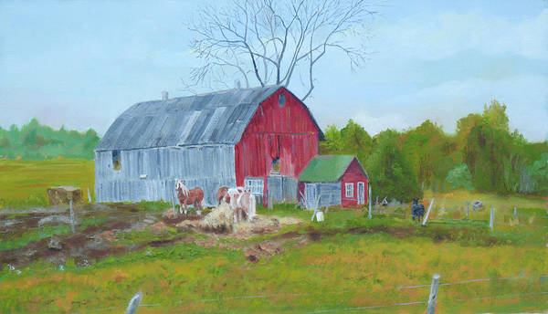 Gulf State Park Painting - Amish Farm Plow Horses by Robert P Hedden