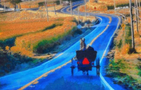 Wall Art - Painting - Amish Horse And Buggy In Autumn by Dan Sproul