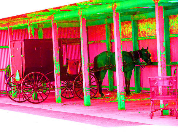 Amish Country Digital Art - Amish Parking Lot by Joseph Wiegand