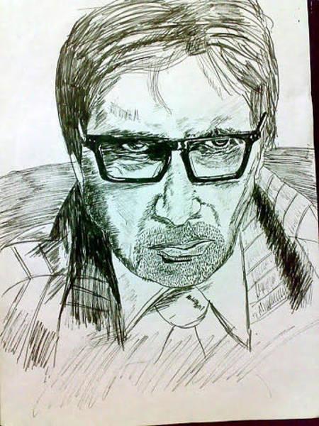 Bollywood Wall Art - Drawing - Amitabh Bachhan by Amit Jauhari