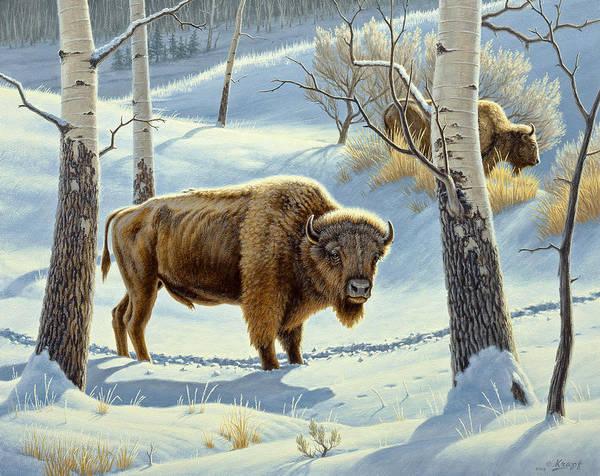 Yellowstone Wall Art - Painting - Among The Aspens- Buffalo by Paul Krapf