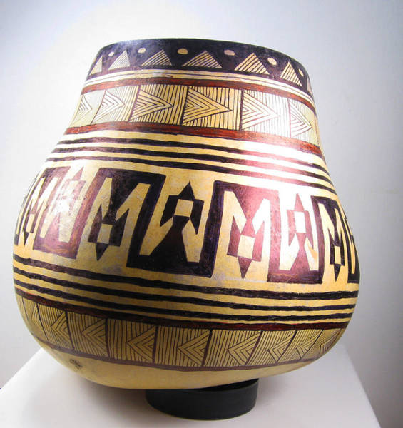 Peru Mixed Media - Among The Ruins - Aztec Hand Painted Gourd by Vagabond Folk Art - Virginia Vivier
