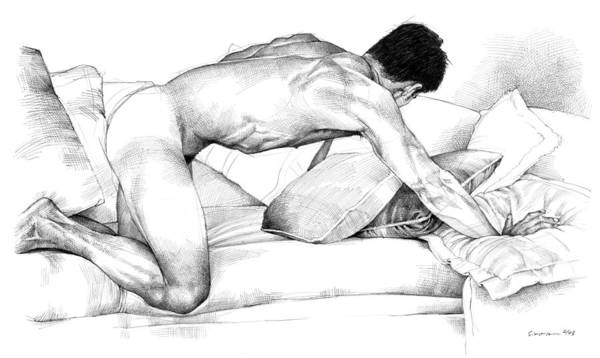 Male Figure Drawing - Among The Wild Pillows by Douglas Simonson