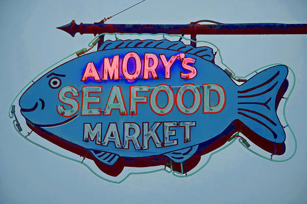 Photograph - Amory Seafood Sign by Jerry Gammon
