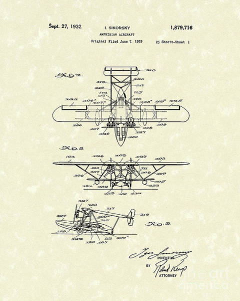 Drawing - Amphibian Aircraft 1932 Patent Art by Prior Art Design