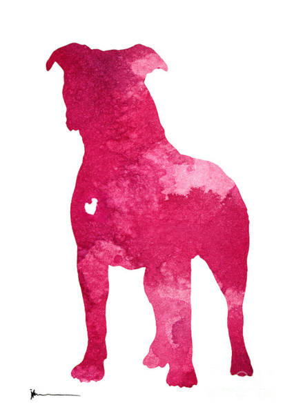 Staffordshire Wall Art - Painting - Amstaff Pink Silhouette Art Print by Joanna Szmerdt
