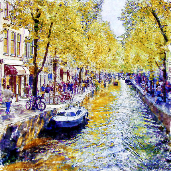 Amsterdam Painting - Amsterdam Canal Watercolor by Marian Voicu