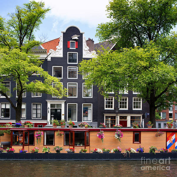Holland Wall Art - Photograph - Amsterdam Canal With Houseboat by Jane Rix