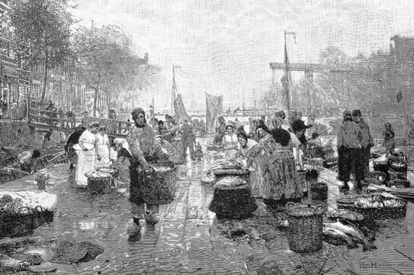 Woodcut Photograph - Amsterdam Fish Market by Bildagentur-online/tschanz