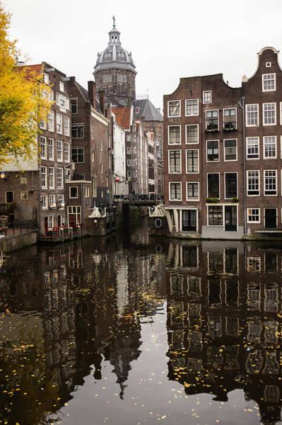 Photograph - Amsterdam - Reflecting On Autumnal Canal Houses by Georgia Mizuleva