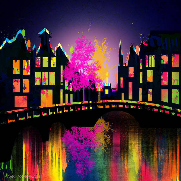 Famous Places Digital Art - Amsterdam  by Mark Ashkenazi