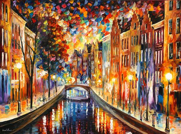 Night Walk Painting - Amsterdam Night Canal by Leonid Afremov