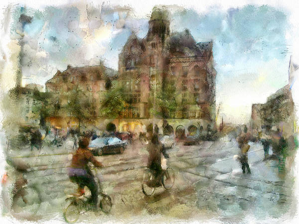Wall Art - Digital Art - Amsterdam On Bikes by Yury Malkov