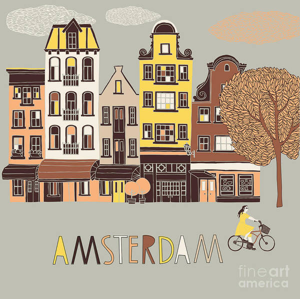 Iconic Digital Art - Amsterdam Print Design by Lavandaart