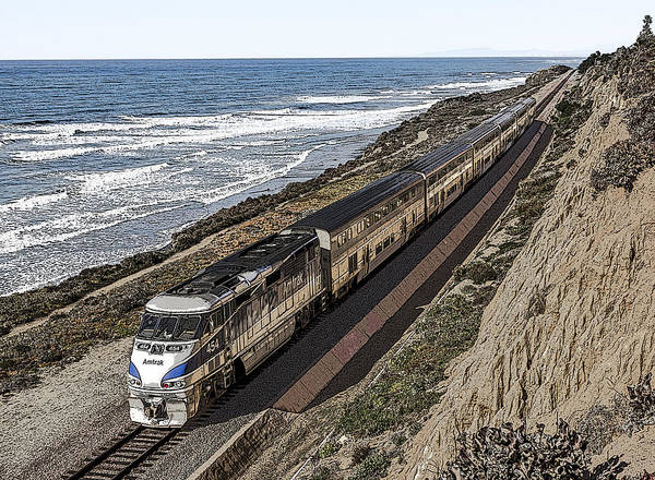 Digital Art - Amtrak By The Ocean by Photographic Art by Russel Ray Photos