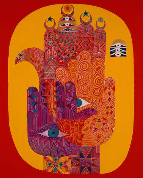 Hamsa Wall Art - Photograph - Amulets, 1992 Acrylic On Canvas by Laila Shawa