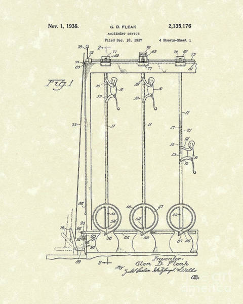 Drawing - Amusement Device 1938 Patent Art by Prior Art Design