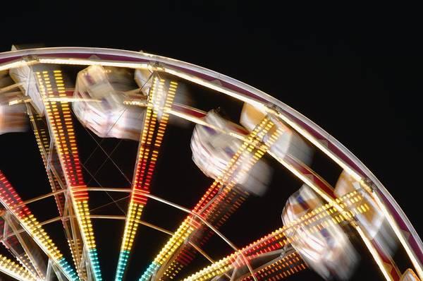 Fair Ground Photograph - Amusement Park Ride Blurred by Dean Muz
