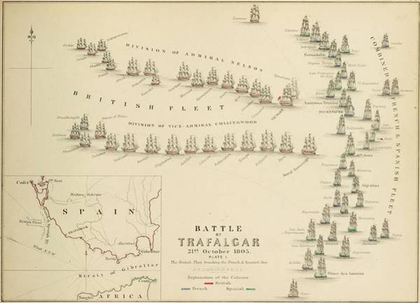 Wall Art - Painting - An 1848 Plan Of The Fleet Positions At The Battle Of Trafalgar by Celestial Images