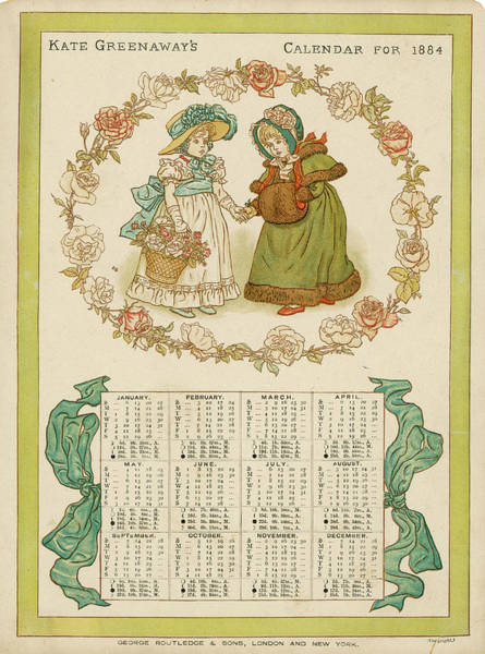 Wall Art - Drawing - An 1884 Calendar By Kate  Greenaway by Mary Evans Picture Library
