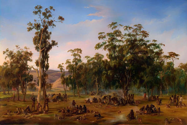 Aborigine Painting - An Aboriginal Encampment Near The Adelaide Foothills by Mountain Dreams