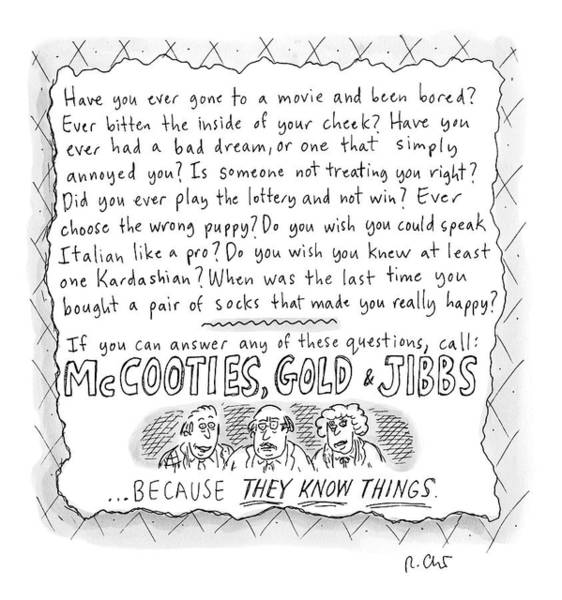 Fake Drawing - An Ad For Mccooties by Roz Chast