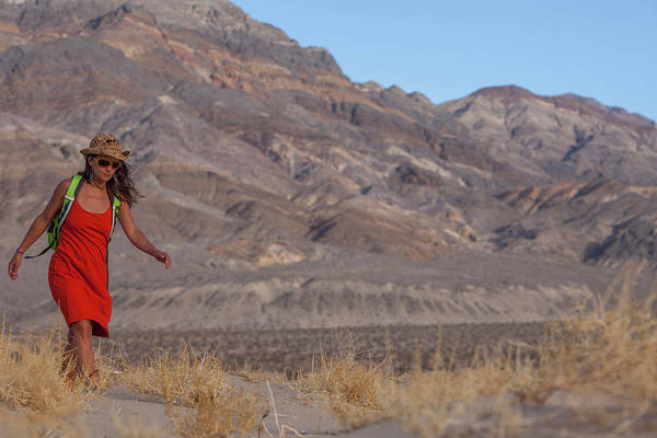 Death Valley Photograph - An Adult Woman Wearing An Orange Dress by Woods Wheatcroft