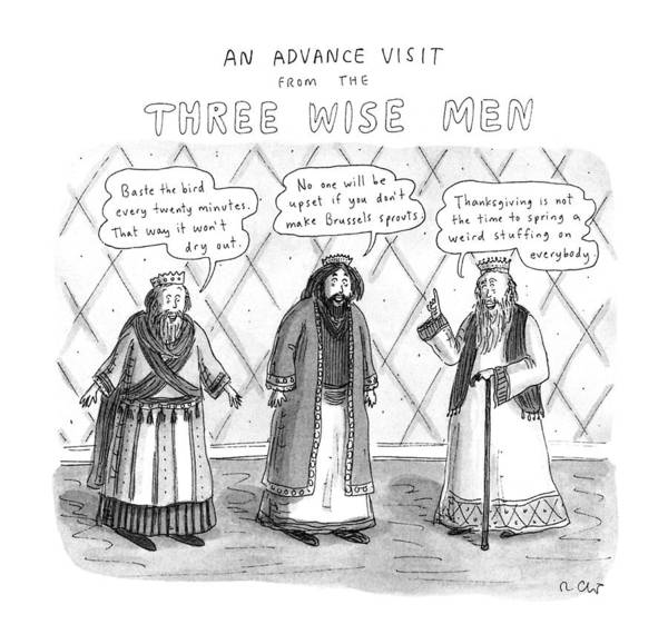 1996 Drawing - An Advance Visit From The Three Wise Men by Roz Chast
