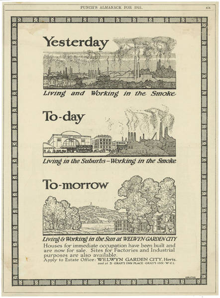Idealistic Wall Art - Drawing - An Advertisement For New Houses by Mary Evans Picture Library