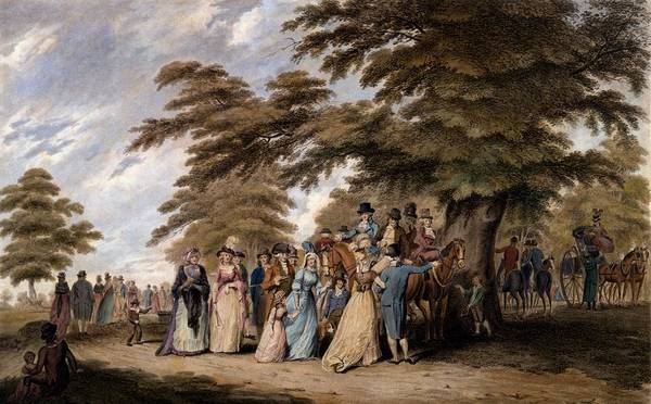 Georgian Drawing - An Airing In Hyde Park, 1796 by Edward Days