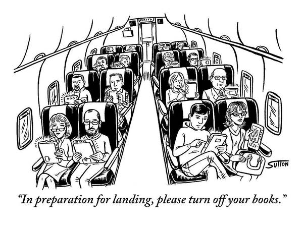 Laptop Drawing - An Airplane Is Seen Full Of Passengers Holding by Ward Sutton