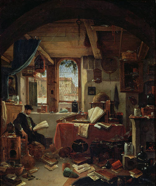 Wall Art - Photograph - An Alchemist In His Laboratory Oil On Canvas by Thomas Wyck