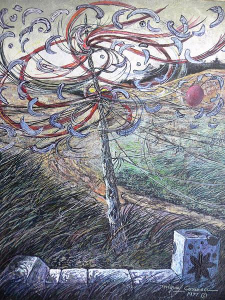Entangled Painting - An Altar To The God Of Wind -1977  Un Altar Para El Dios Del Viento by Miguel Conesa Osuna