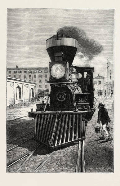 Locomotive Drawing - An American Locomotive Engine And Cow Catcher by English School