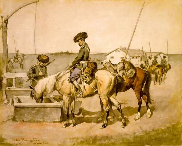 Digital Art - An Amoor Cossack by Frederic Remington